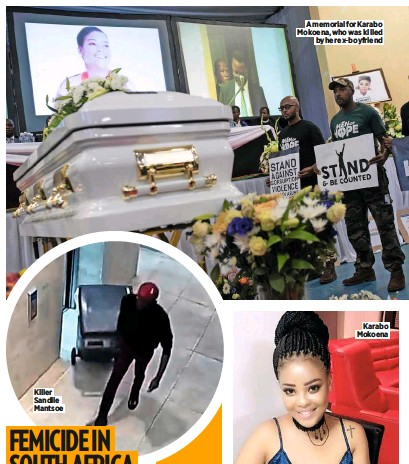??  ?? Killer Sandile Mantsoe A memorial for Karabo Mokoena, who was killed by her ex-boyfriend