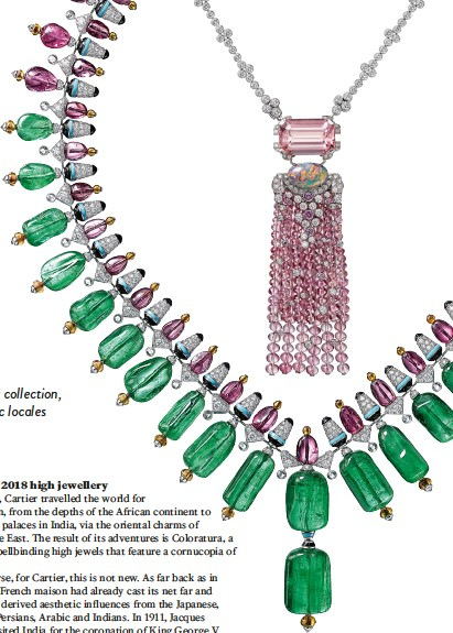 ??  ?? A vivid selection of coloured gemstones including emeralds, morganites, opals and tourmalines embody the festive and colourful ethos of Cartier's Coloratura collection
