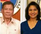 ??  ?? President Rodrigo Duterte, Vice President Leni Robredo