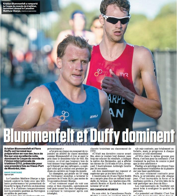 ??  ?? Kristian Blummenfelt a remporté la Coupe du monde de triathlon, terminant devant le Canadien Matthew Sharpe.