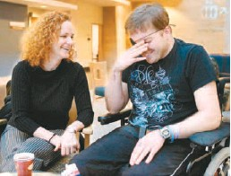"""??  ?? 'I've told him ever since he opened his eyes, """"I believe in you. You can do it,""""' says Cathy Anderson. 'We were together all the time before the accident. We did everything together. That hasn't changed much, it's just that we do it different.'"""