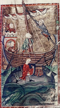 ??  ?? A page from a medieval bestiary shows sailors mistaking a huge fish Hor land 5ea creatWres were staRles oH OaRs in the /iddle #Ies
