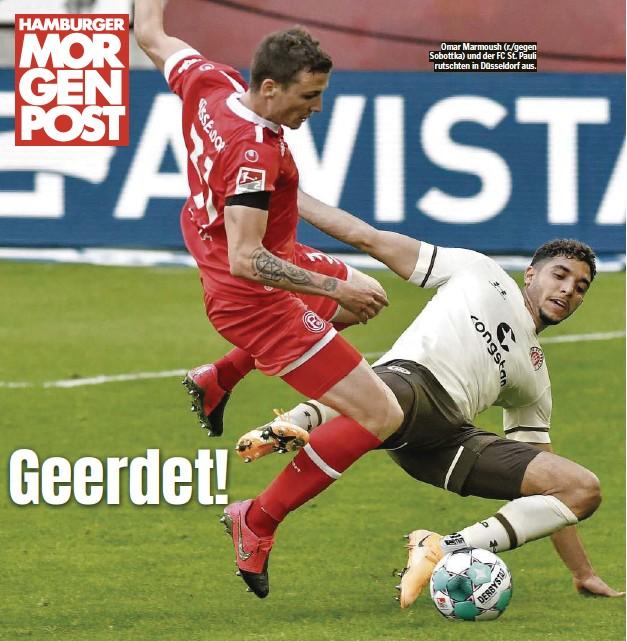 ??  ?? Omar Marmoush (r./gegen Sobottka) und der FC St. Pauli rutschten in Düsseldorf aus.