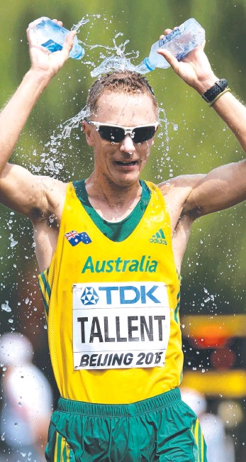??  ?? LONG MARCH: Jared Tallent cools down as he powered to silver in the 50km walk and (below) Eleanor Patterson reacts after her final high-jump attempt. Pictures: AP