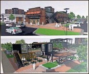 ?? FSRE Impact Rome River District LLC ?? An artist's rendering of the event plaza/food hall proposal submitted by FSRE Impact Rome River District LLC for a 2.2-acre tract on West Third Street.