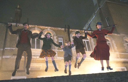 """?? JAY MAIDMENT/ASSOCIATED PRESS ?? Lin-Manuel Miranda, Pixie Davies, Joel Dawson, Nathanael Saleh and Emily Blunt in """"Mary Poppins Returns."""" The sequel to the 1964 Disney movie musical also features Dick Van Dyke, who co-starred with Julie Andrews in the original. The new movie opens Wednesday."""