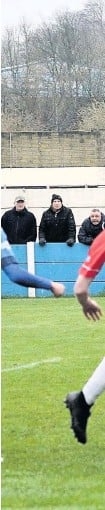?? Frank Crook ?? Reuben Jerome opens the scoring against Workington in January 2020