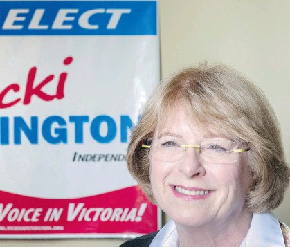 ?? LES BAZSO/FILES ?? Vicki Huntington, Independent MLA for Delta South, wants to end the perception that donations can buy political influence in British Columbia. To that end, she is proposing legislation that would put restrictions on political fundraising.