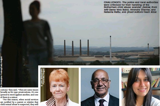 ??  ?? CHALLENGES: The police and local authoriies were criticised for their handling of the Rotherham child abuse scandal; (below, from left) Dame Vera Baird; Virendra Sharma; and Natasha Rattu; and (inset bottom) Nazir Afzal