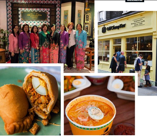 ??  ?? Clockwise, from top left: Sandra opened the first London branch of Old Chang Kee; as a child with her mother; a family gathering in Singapore with her mum, sisters, cousins and nieces; the signature chicken curry puff with egg; Old Chang Kee's Singapore laksa