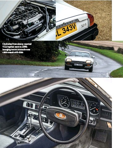 ??  ?? Clockwise from above: vaunted V12; hyphen went in 1990; lounging tourer; monochrome cabin awash with dials