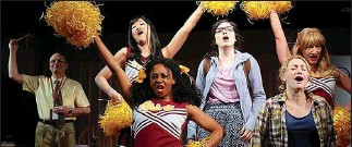 """?? Photo by Joan Marcus ?? April Matthis, center, as an angry cheerleader in """"Iowa"""" by Jenny Schwartz."""