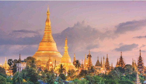 ?? IMAGE © SHUTTERSTOCK ?? ABOVE Shwedagon Pagoda in Yangon, Myanmar was first built between the 6th and 10th centuries AD. The gold seen on the stupa is made of genuine gold plates, covering the brick structure and attached by traditional rivets. From ordinary citizens to royalty, people all over the country have donated gold to the pagoda to maintain it