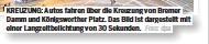 ?? Foto: dpa ?? KREUZUNG: Autos fahren über die Kreuzung von Bremer Damm und Königsworther Platz. Das Bild ist dargestellt mit einer Langzeitbelichtung von 30 Sekunden.
