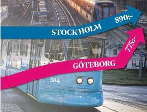 ??  ?? Tio års prisutveckling av en 30-dagarsbiljett för Stockholms respektive Göteborgs kollektivtrafik.