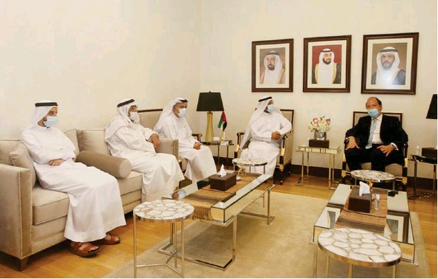 ??  ?? ↑ Top officials of the SCCI with the Consul General of Belarus in Dubai during a meeting in Sharjah.