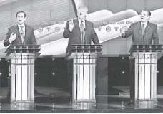 ?? MICHAEL CIAGLO, POOL PHOTO ?? Republican presidential candidates Marco Rubio, Donald Trump and Ted Cruz in Houston last Thursday.