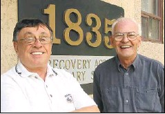 ??  ?? John O'Reilly, executive director of 1835 House, left, and program manager Peter Conroy are all smiles outside the Marda Loop facility.