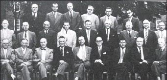 ?? Submitted photo ?? A committee of municipal and community leaders came together to form the Four County Development Association. From left, front: Albert Whidden, Arthur Pynn, Angus R. MacDonald, Leonard O'Neil, Arthur J. Langley Sr., J. Clyde Nunn, Alfred Hattie, Blair...