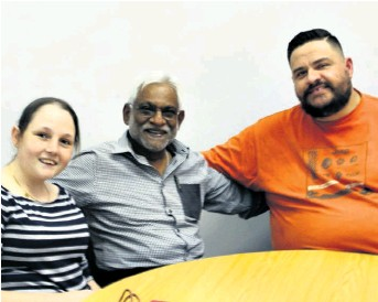 ??  ?? Promoting the child trauma workshop in Richards Bay are Marnique Venter, Ivan Naidoo and Pastor Nicohan Viljoen