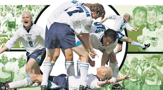 ??  ?? Jubilation: Gazza and the iconic ' dentist's chair' celebrations on the pitch in 1996 are among the highlights of the tournament for James Brown (below), editor of Loaded