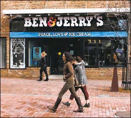 ?? Charles Krupa Associated Press ?? BEN & JERRY'S said it would stop selling ice cream in the West Bank and East Jerusalem, reigniting the Israel boycott debate. Above, a shop in Burlington, Vt.