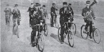 ?? Photo: PRESS ARCHIVES ?? Christchurch's Bicycle Band formed in 1895 featuring band members playing with one hand and riding with the other in formation.