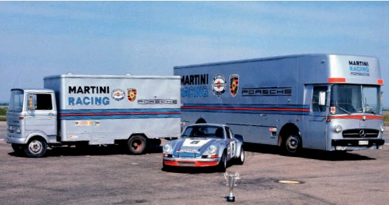 ??  ?? Below: 1973 – celebrating victories in the Targa Florio and at Daytona, 2.8 RSR seen with Mercedes LP 608 (left) and LO 317 (right). The latter is now part of the Brumos collection in Florida
