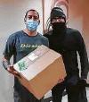 ?? Courtesy Reynaldo Villegas ?? Pedraza, left, delivered medicine for Reynaldo Villegas' young daughter, who has HLHS, a rare condition.