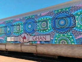 ?? Photograph: NTMEC ?? Chantelle Mulladad's artwork is the largest display ever featured on the Ghan.