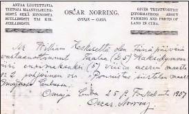 ??  ?? BEVIS. William Keskinens handskrivna äganderättsbevis på fem hektar land i Omaja till priset av 25 dollar. Dokumentet är undertecknat av Oscar Norring. Med tillstånd från Teuvo Peltoniemi.