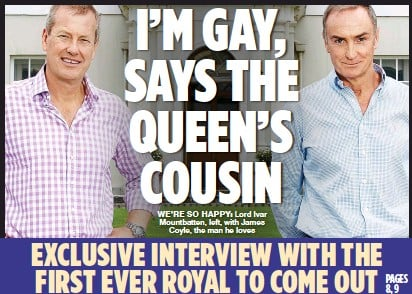 ??  ?? WE'RE SO HAPPY: Lord Ivar Mountbatten, left, with James Coyle, the man he loves