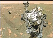 ?? NASA ?? The Ingenuity helicopter, left, hitched a ride to Mars aboard the Perseverance.