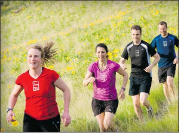?? Photos, Michael Hintringer ?? Molly Thurston, Stephanie Swaisland, Andrew Corcoran and Ian Tanner trade the pavement for off-road trail runs.