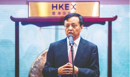 ?? ISAAC LAWRENCE / AFP VIA GETTY IMAGES FILES ?? The Hong Kong Stock Exchange's outgoing chief executive officer Charles Li is credited with linking the exchange closer to the mainland and helping open doors for foreign investors. His forthright style is believed to have clashed with chairman Laura Cha.