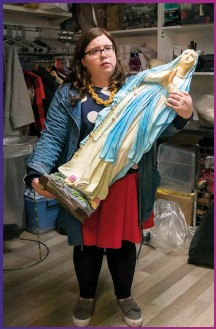 ??  ?? Virgin on the ridiculous: Alison makes a charity shop purchase