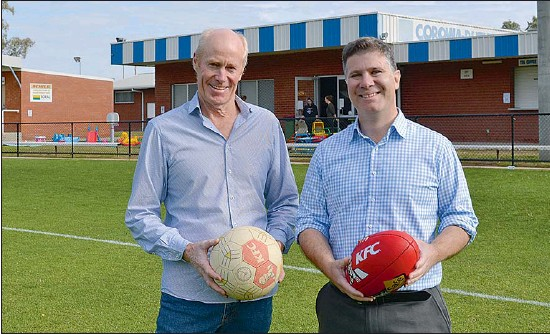 ??  ?? Corowa Rutherglen Football Netball Club President Stuart Lingham (left) with Member for Albury Justin Clancy at the John Foord Oval on Monday, April 19.