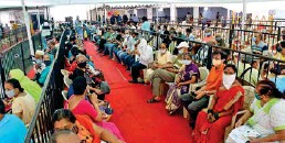 ?? ANI ?? ■ Senior citizens wait for their turn to get a shot of the Covid-19 vaccine at Mumbai Municipal corporation Jumbo Covid Vaccination Centre in Mumbai yesterday.