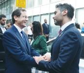 ?? (Mark Neyman/GPO) ?? PRESIDENT ISAAC HERZOG with UAE ambassador Mohamed Al Khaja.