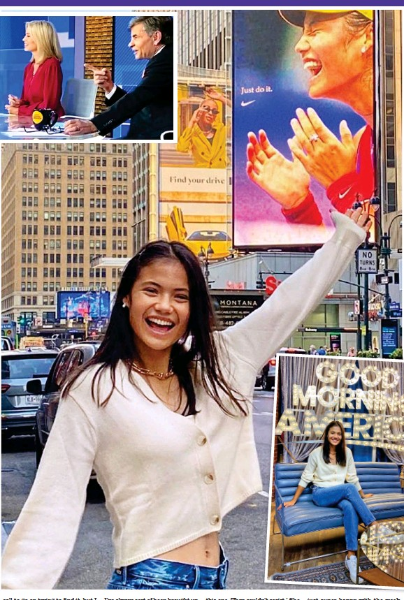??  ?? l love New York: Posing by her Nike billboard in the Big Apple after her appearance on Good Morning America (far left)