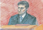 ?? MARCELA PRIKRYL SPECIAL TO THE HAMILTON SPECTATOR ?? Geoffrey Gonsalves, in a courtroom sketch testifying in the Maria Figliola murder trial in 2006.