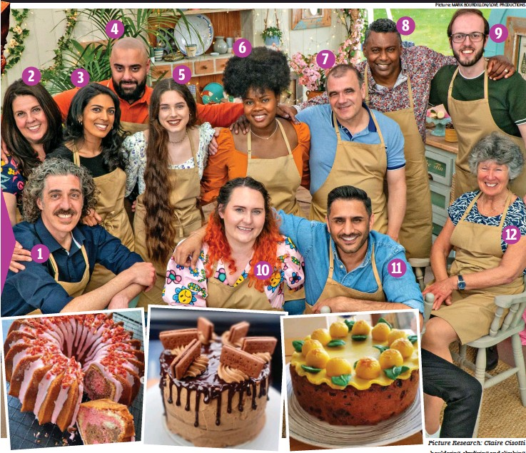 ?? Picture: MARK BOURDILLON/LOVE PRODUCTIONS Picture Research: Claire Cisotti ?? No soggy bottoms: The new cooks and, from left, Jairzeno's Bundt cake, Freya's biscuit-topped creation and Tom's allotment cake