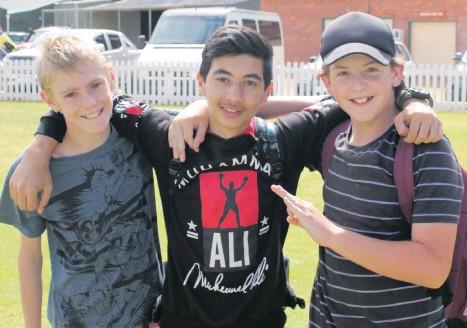 ?? Pictures: Jackson Barrett ?? LucasPayne, 12, Mujtaba Gholami, 14, and ChadBaker, 13.