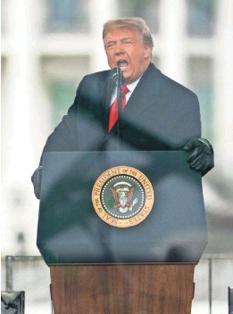 ?? EVAN VUCCI/AP ?? President Donald Trump calls on supporters to head for the Capitol to protest the Electoral College confirmation of Joe Biden as president on Jan. 6.