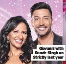 ??  ?? Giovanni with Ranvir Singh on Strictly last year
