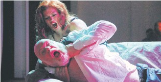 ?? Picture: Robert Frith ?? Hattie Marshall as Tosca and James Clayton as Scarpia.