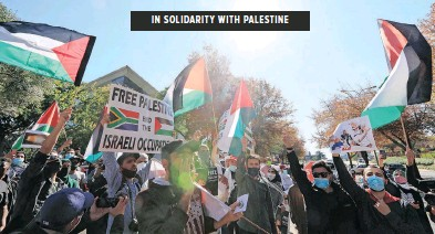 ??   SIMPHIWE MBOKAZI African News Agency (ANA) ?? MEMBERS from various civil organisations marched in Sandton yesterday in protest against Israel's violent crackdown in Jerusalem and Palestine.