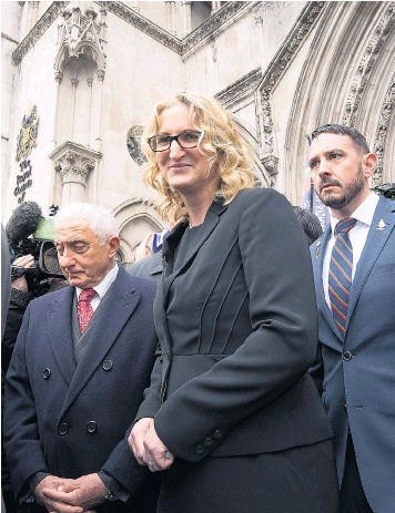 ??  ?? Claire Blackman outside the Royal Courts of Justice for a hearing about her jailed Royal Marine husband Alexander