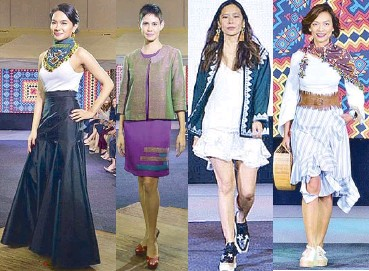 856e8c10097 Joyce Oreña wears her large Tangkulo scarf by Kaayo sideways with sneakers.  Marga Valdes wears Pagal Bato Yakan jacket and shift dress set from Linea  ...