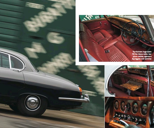 ??  ?? Top-bottom: huge seats fill the classy cabin; rear picnic tables; signature Jag toggles and switches